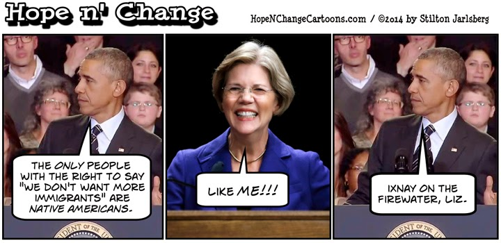 obama, obama jokes, political, humor, cartoon, conservative, hope n' change, hope and change, stilton jarlsberg, immigration, amnesty, warren, native americans