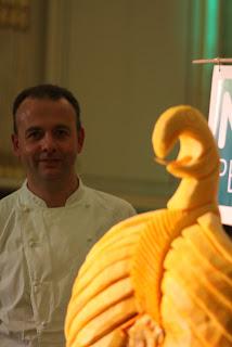 David Wilkinson head chef with viking boat