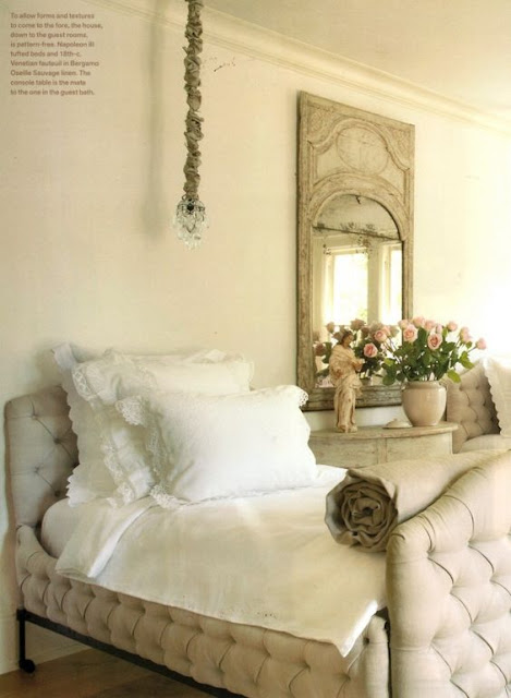Pamela Pierce designed bedroom with twin bed with tufted upholstery