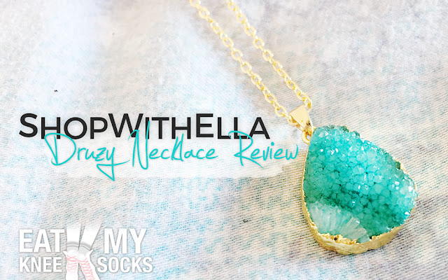 I'm switching it up this time with a jewelry review, featuring a turquoise druzy necklace from ShopWithElla, a new California-based Etsy shop selling chokers and pendant necklaces. - Eat My Knee Socks/Mimchikimchi