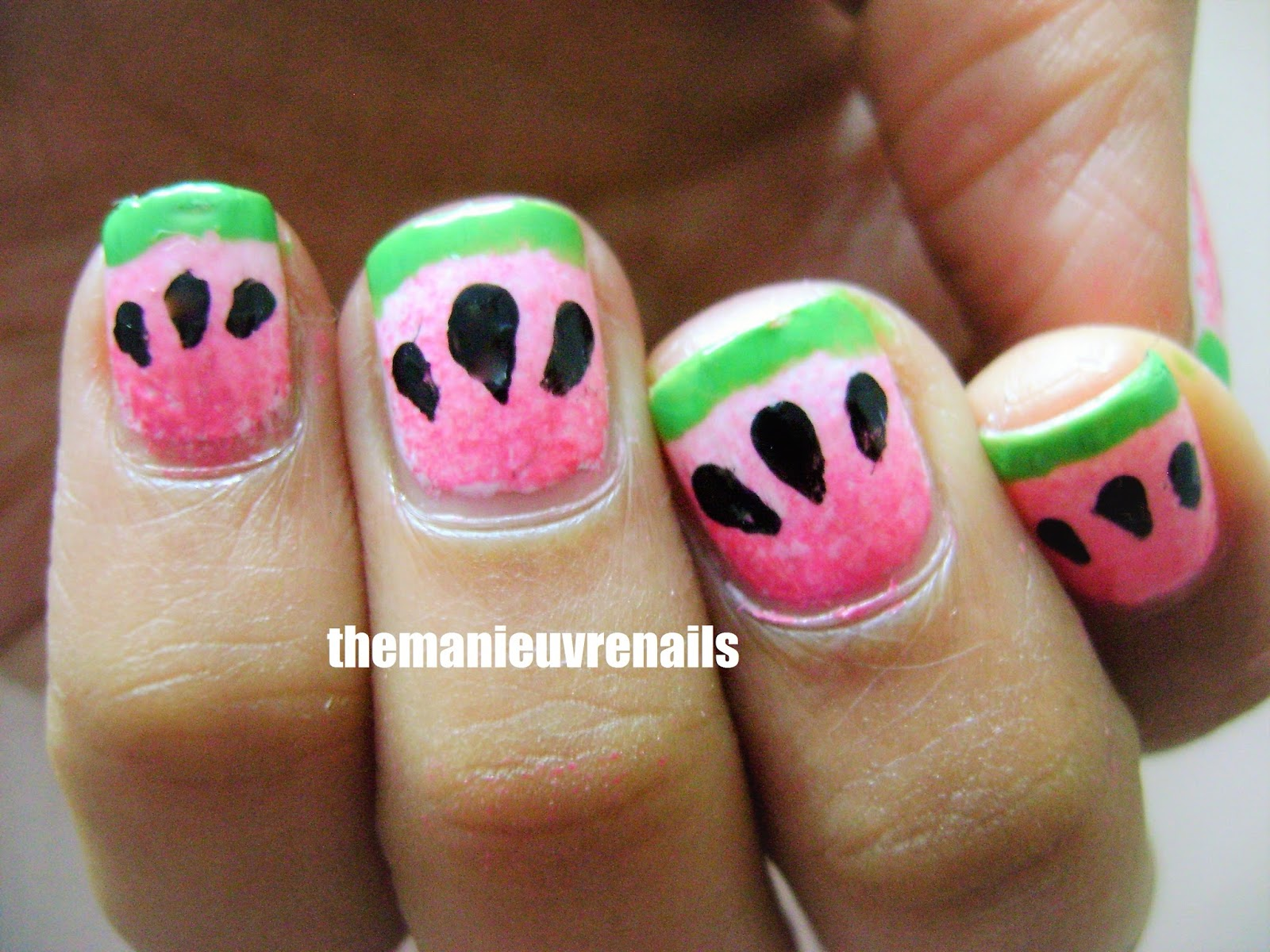 The Manieuvre Nails | Nail Art Blog: Watermelon Gradient Nail art