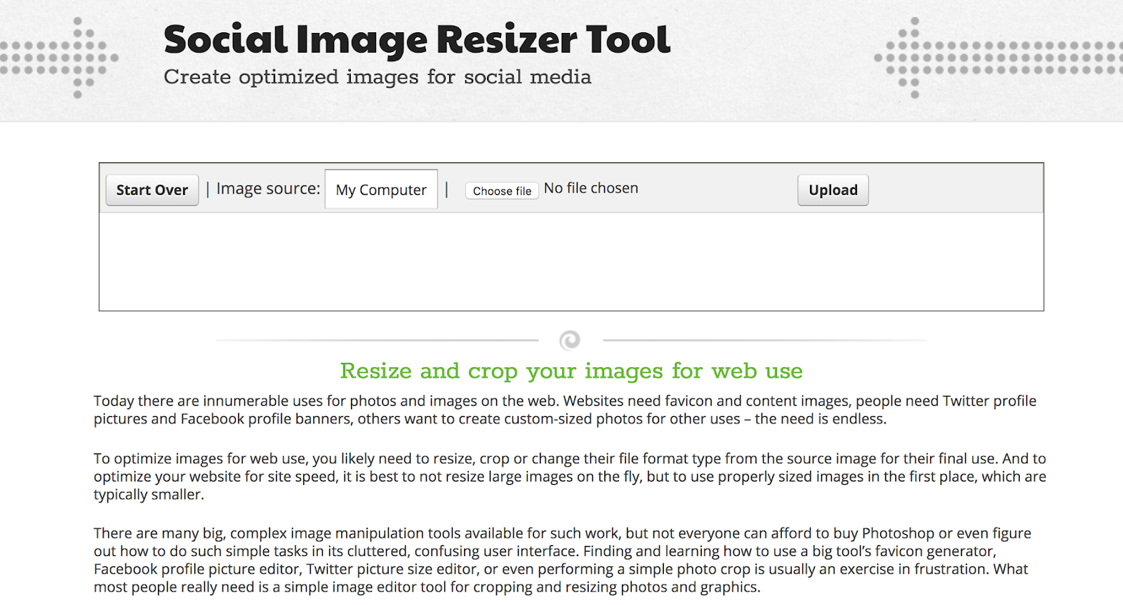 Social Image Resize Tool