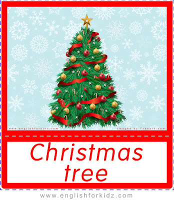 Christmas tree, Christmas flashcards with words for ESL teachers