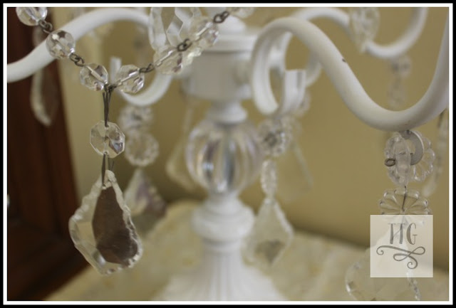 close up detail of tabletop chandy.