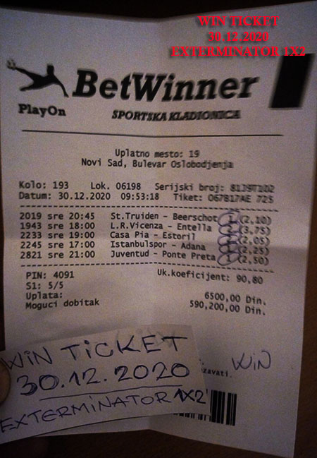 OUR WIN TICKET FROM YESTERDAY WEDNESDAY/ SREDA 30.12.2020