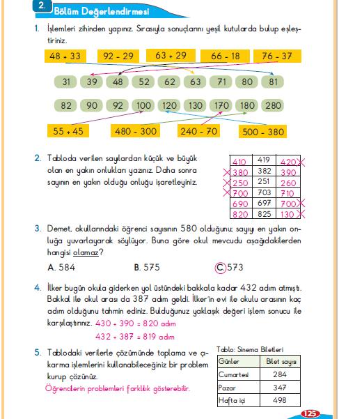 3. Sınıf Berkay Yayınları Matematik Ders Kitabı 125.Sayfa 2.Bölüm Değerlendirmesi