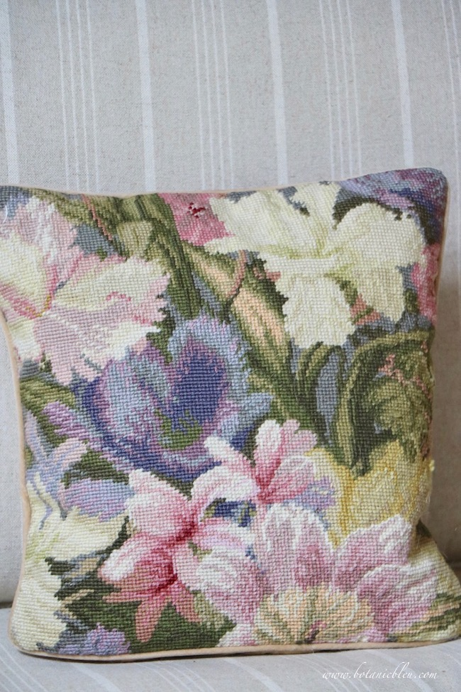 french inspired fall living room colors come from needlepoint pillow
