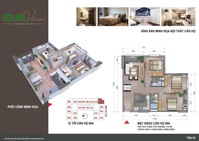 Thiết kế căn hộ 06A tòa HH2 chung cư ECO LAKE VIEW