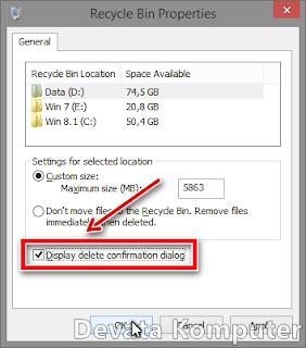 pesan konfirmasi delete pada windows