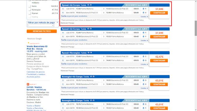 Captura de pantalla con el precio ofrecido por Viajar.com, donde también se tiene descuento por método de pago al usar la tarjeta Viabuy Mastercard prepago