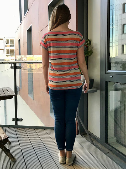 Diary of a Chain Stitcher: MIY Collection Beginner's Guide to Dressmaking T-Shirt in Striped Cotton Rayon Jersey from Girl Charlee