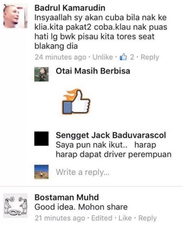 Pemandu Teksi Mahu Pedajal Uber/Grabcar