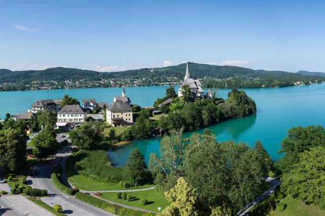 Maria Wörth, Lake Woerthersee, Carinthia, Austria, Lago Woerthersee
