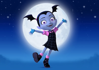 Vampirina flying in front of moon