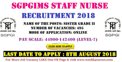 SGPGIMS Staff Nurse Recruitment 2018