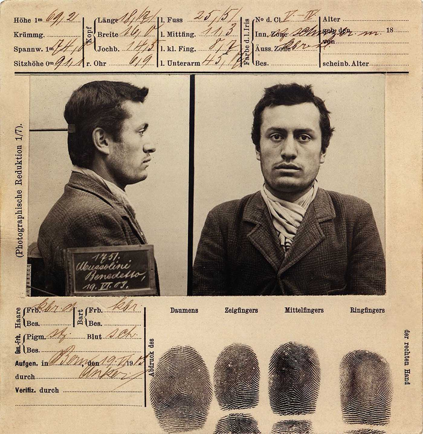 Benito Mussolini's mug shot taken on June 20, 1903 in Bern, Switzerland.