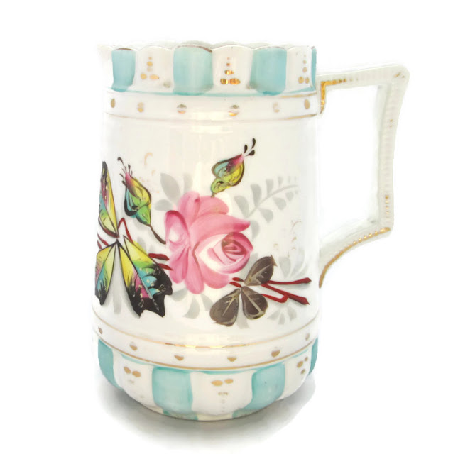 Antique China Pitcher Hand Painted Moss Roses and Gilding