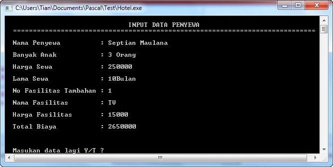 Source Code Sewa Hotel dalam Pascal