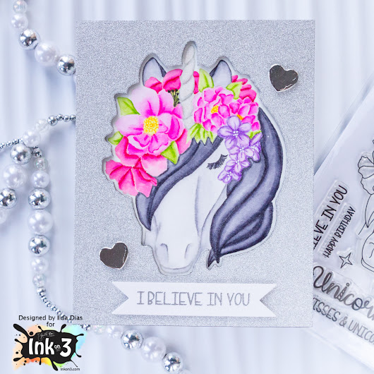 Magical Unicorn No Line Coloring | Encouragement Card | Ink On 3