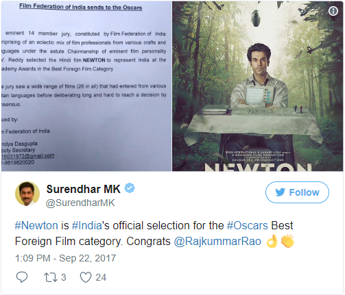 Rajkummar Rao-Starrer Newton Is India's Official Entry To Oscars