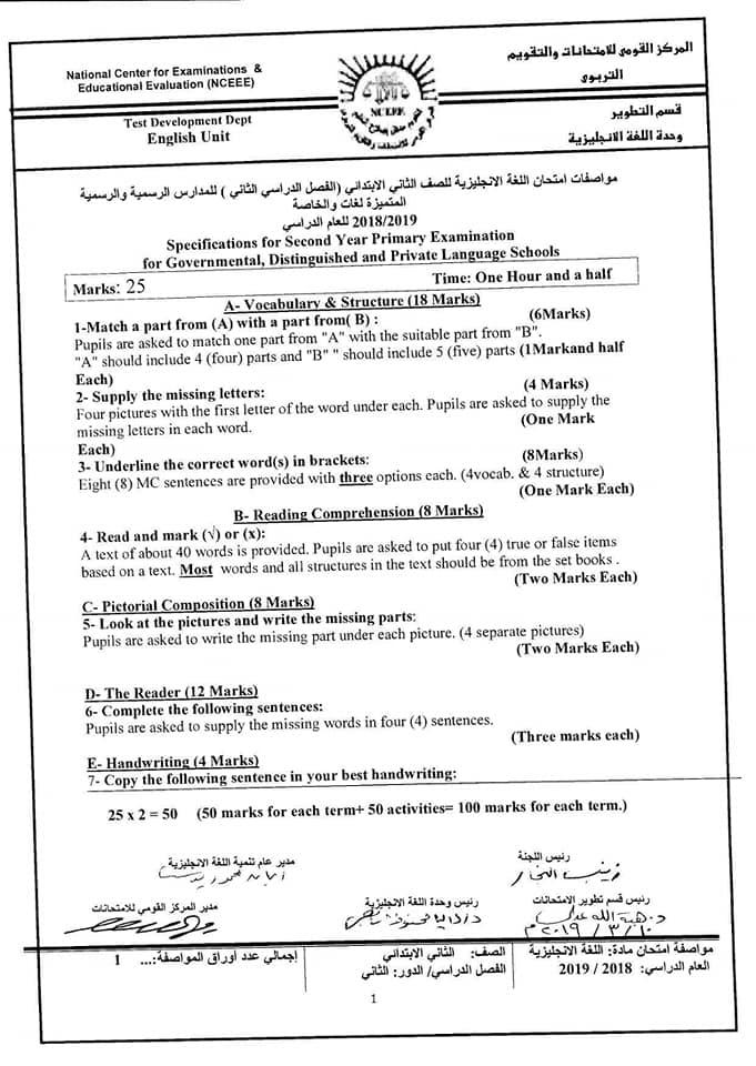 مواصفات امتحان اللغة الانجليزية للمدارس الرسمية الخاصة لغات ترم ثاني 2019 1