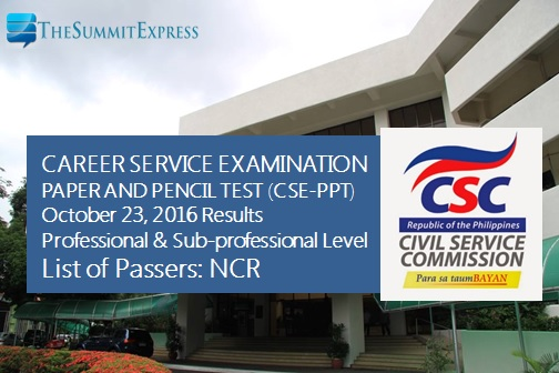 NCR passers  October 2016 Civil service exam CSE-PPT results