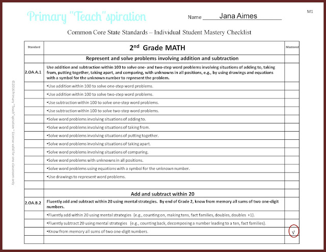 Easily organize and track math and ELA student progress for 1st & 2nd grade Common Core standards. #firstgradecommoncorechecklists #secondgradecommoncorechecklists