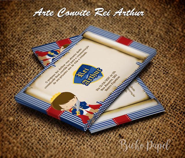 Convite Rei Arthur azul e vermelho