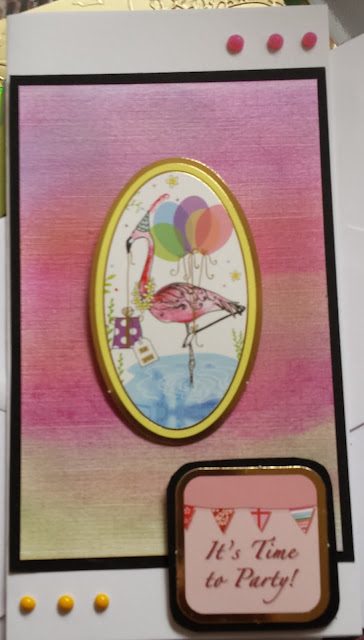 It's Time to Party! Flamingo and ballons DL card