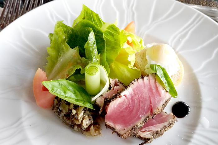 Peppered Seared Tuna Loin with Poached Quail Egg