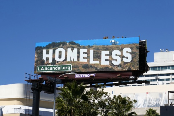 Homeless Hollywood Sign LA Scandal billboard