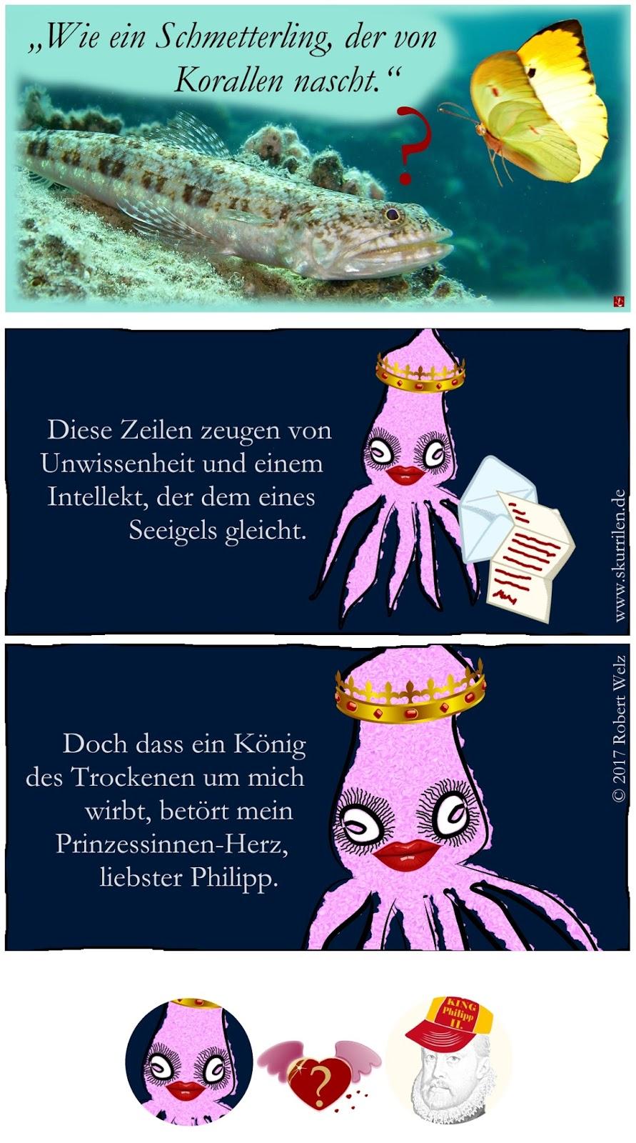 Humor Satire Comic Heirats-Diplomatie Dynastien Adelshäuser Habsburg Geschichte Prinzessin Riesenkalmare