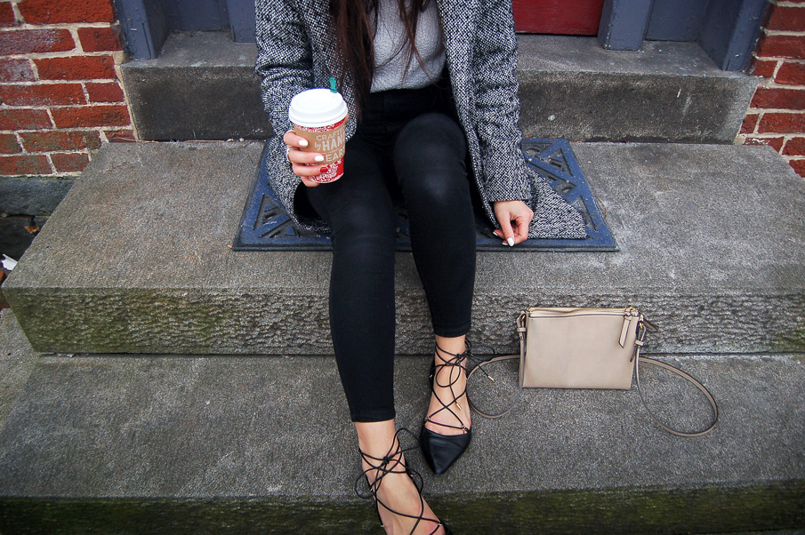 Grey Coat Black Jeans Lace Up Flats