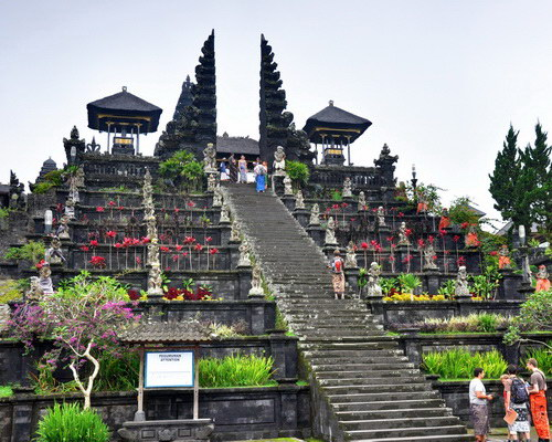 Travel.Tinuku.com Great Besakih temple is center religious rituals Hindu Dharma Bali stands majestically on slopes Mount Agung