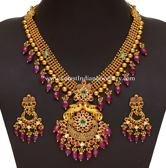 120gms Ruby Drops Gold Necklace