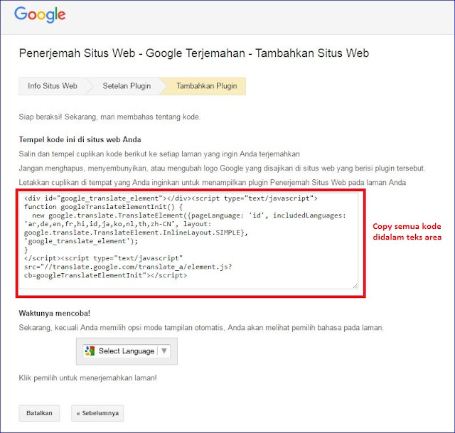 tutorial memasang translate untuk web blog