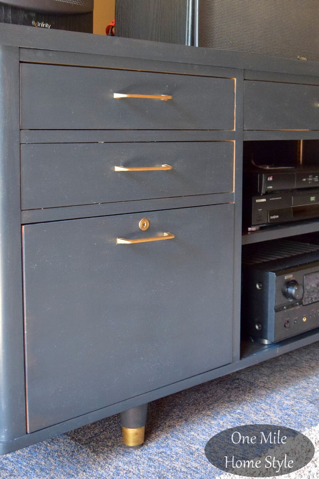 Mid Century Modern Office Credenza To Entertainment Center Makeover One Mile Home Style