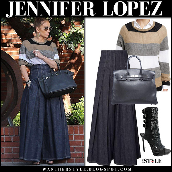 Jennifer Lopez in striped knit sweater and dark denim wide leg pants brunello cucinelli street style december 29