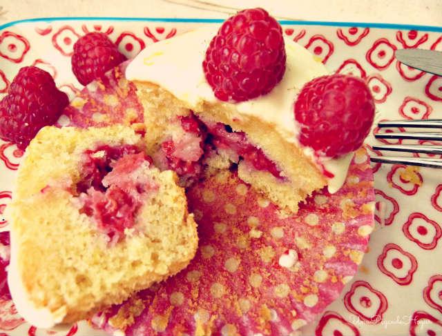 Cupcakes de limón y frambuesa, recetas con fresas