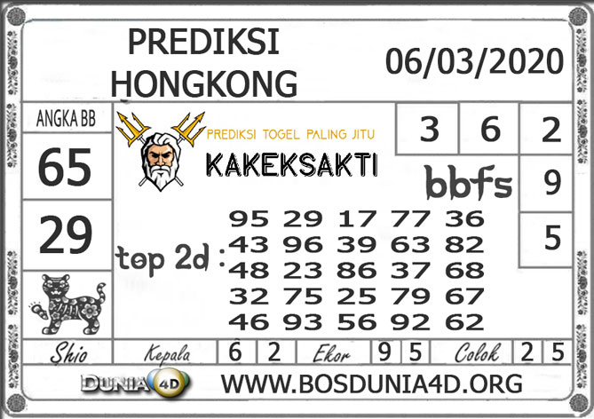 Prediksi Togel HONGKONG DUNIA4D 06 MARET 2020