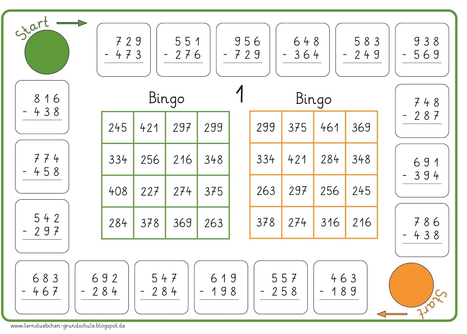 lernst252bchen bingo schriftliche subtraktion