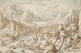 Landscape with Tobie and Angel by Tobias Verhaecht - Landscape, Mythology drawings from Hermitage Museum