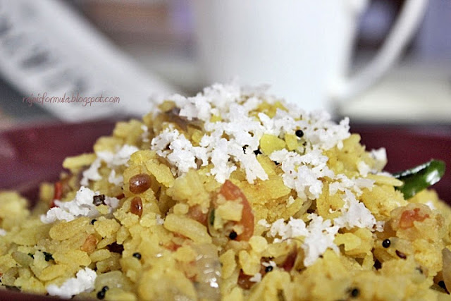 Poha Upma - Garnished with grated coconut
