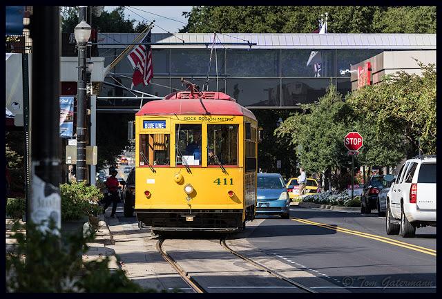 Little Rock Metro Streetcar 411 Rolls Down West Markham Street