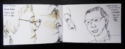 my fellow passengers on WestJet flight drawings by verna vogel