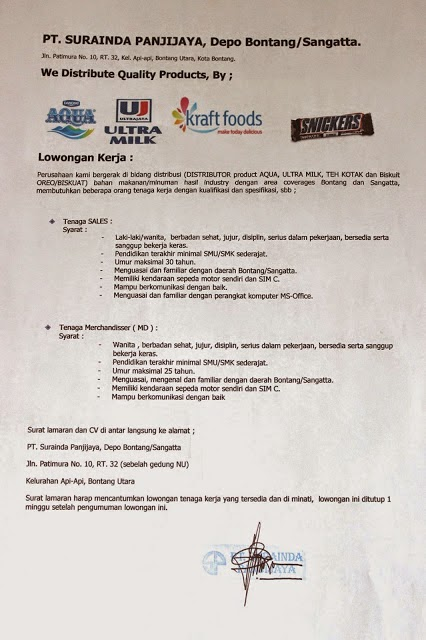 Lowongan Kerja Terbaru Bontang November 2014 : PT. SURAINDA PANJIJAYA