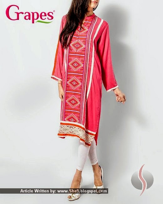 Grapes Lawn Kurta Collection 2015 for Girls