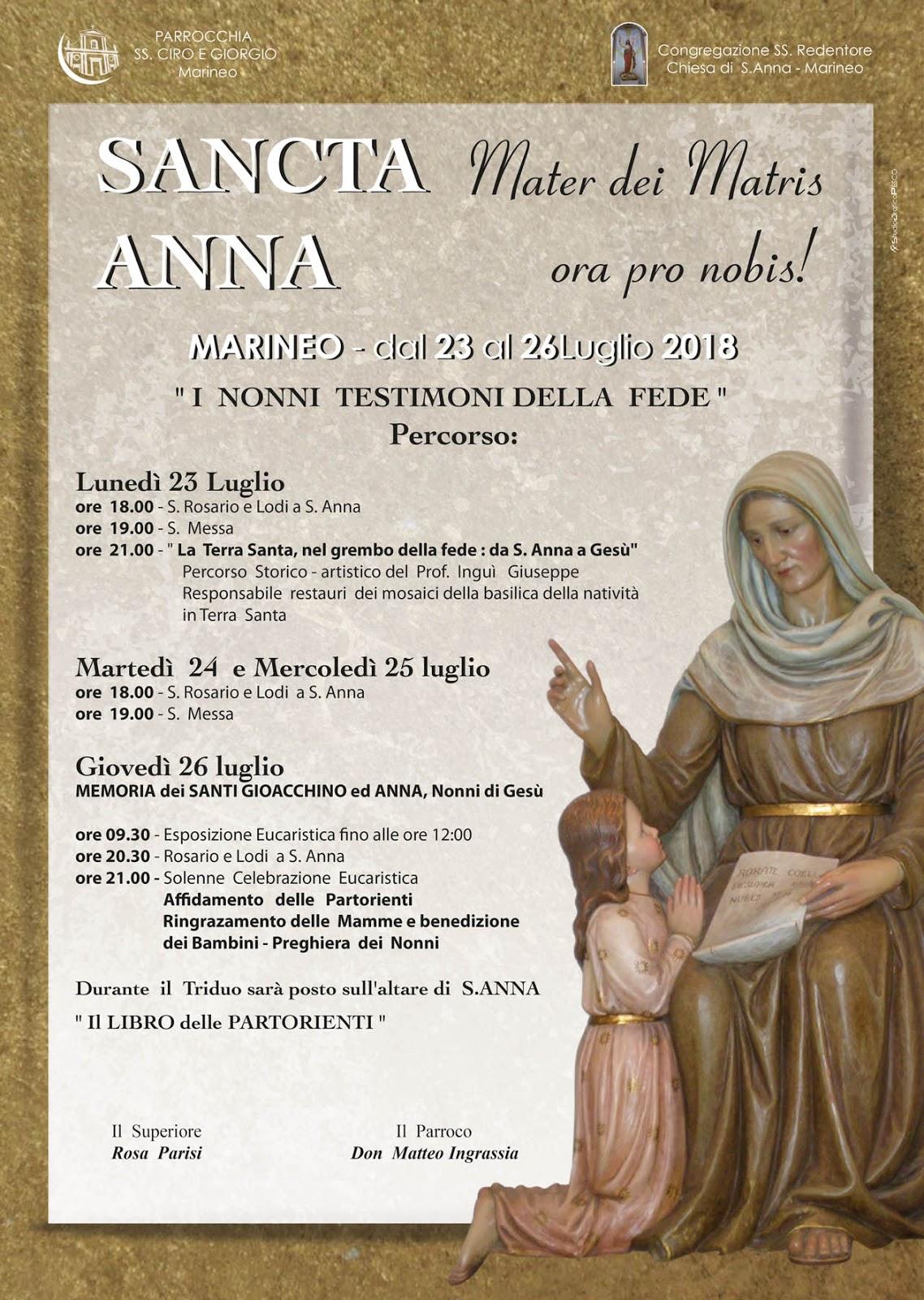 E  questo il tema che guiderà il cammino di quest anno in preparazione alla  memoria dei Santi Anna e Gioacchino nella Chiesa di S. Anna in Marineo. 6877ed2675b1