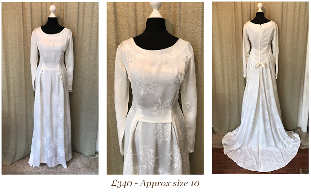1950s 1960s long sleeve brocade vintage wedding dress available from vintage lane bridal boutique bolton manchester