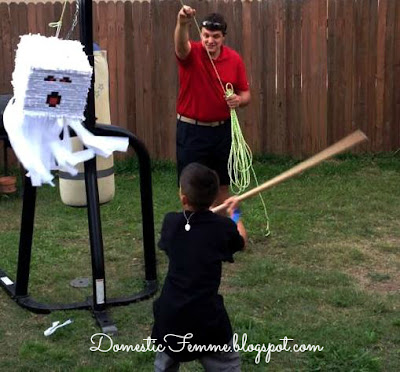Minecraft Birthday Party Ghast Pinata #Parties #Birthdays #DIY #Character #Characters #Supplies #Idea #Ideas #TNT #Twizzlers #Torches #Chocolate #Dipped #Pretzel #Pretzels #Rods #Rods #Dirt #Brownie #Brownies #Coal #Rice #Krispies #Treats #Krispie #Crispie #Crispies #Zombie #Zombies #Boogers #Booger #Popcorn #Corn #Candy #Stickers #Enderman #Steve #Creeper #Printables #Printable #Cake #Instruction #Instructions #Instuctable #Instructables #Tutorials #Ghost